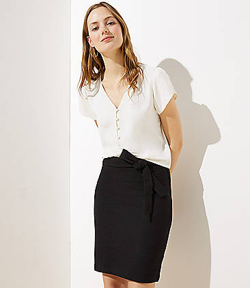 로프트 LOFT Tie Waist Pull On Pencil Skirt,Black