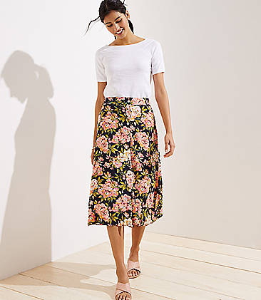 로프트 LOFT Floral Button Front Midi Skirt,Forever Navy