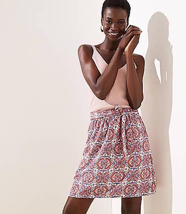 로프트 LOFT Floral Mosaic Tie Waist Skirt,Whisper White