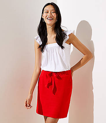 로프트 LOFT Textured Jogger Skirt,Bright Cherry