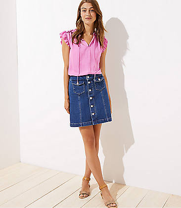 로프트 LOFT Denim Button Front Shift Skirt,Modern Indigo Wash