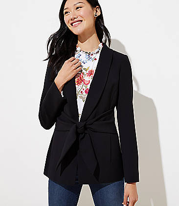로프트 LOFT Long Tie Waist Blazer,Black