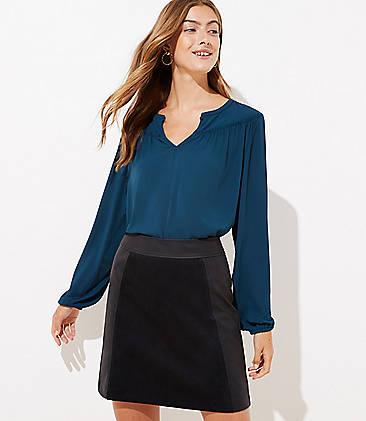 로프트 LOFT Mixed Faux Leather Skirt,Black
