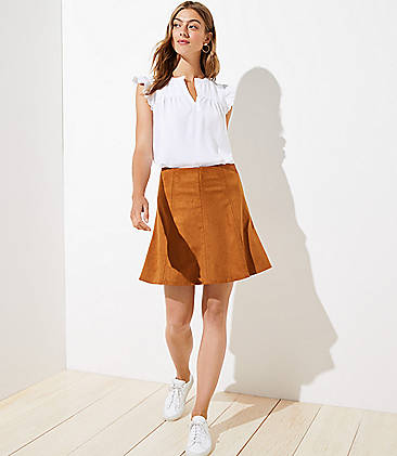 로프트 스커트 LOFT Faux Suede Flippy Skirt,Brown Butter