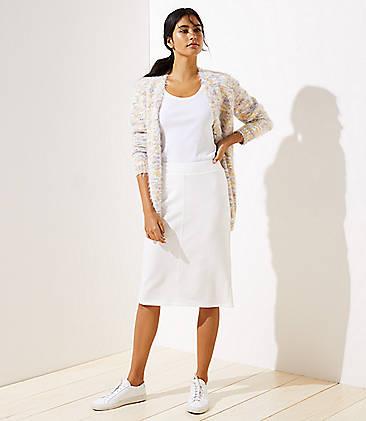 로프트 LOFT Knit Pull On Pencil Skirt,Whisper White