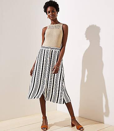 로프트 LOFT Striped Button Front Midi Skirt,Black