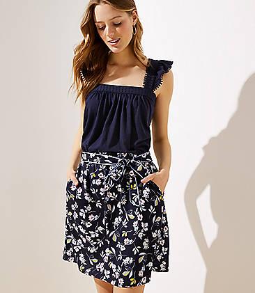 로프트 LOFT Bouquet Tie Waist Skirt,Forever Navy