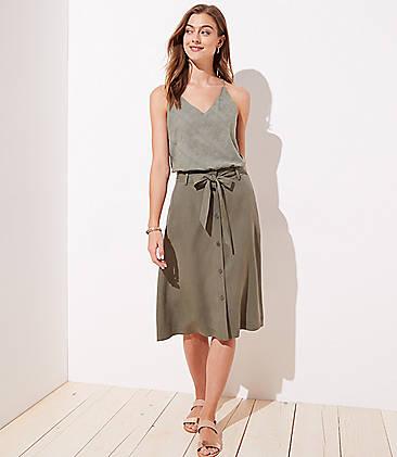 로프트 LOFT Tie Waist Button Front Skirt,Dark Army Green