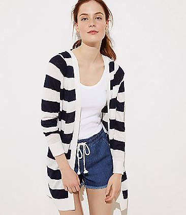 로프트 LOFT Striped Hooded Open Cardigan,Forever Navy