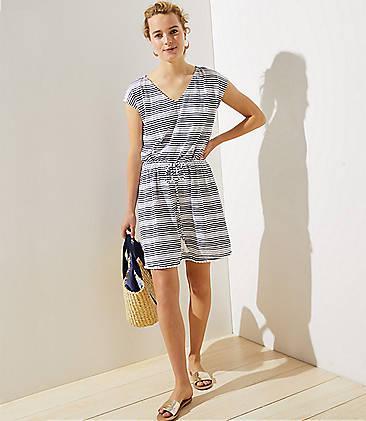 로프트 LOFT Beach Drawstring Dress,Navy/White