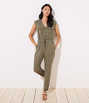 로프트 LOFT Utility Jumpsuit,Dark Army Green