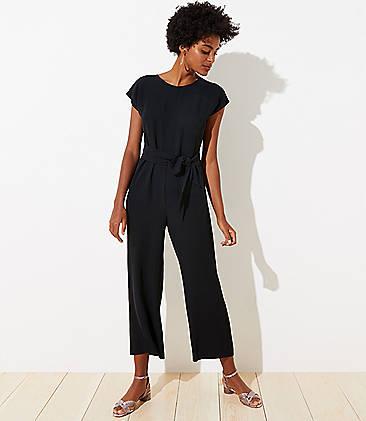 로프트 LOFT V-Back Tie Waist Jumpsuit,Black