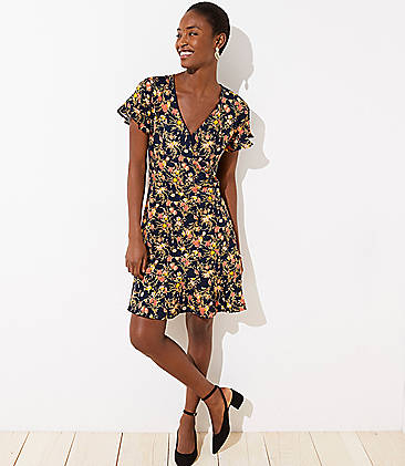 로프트 LOFT Bouquet Wrap Flutter Flare Dress,Forever Navy
