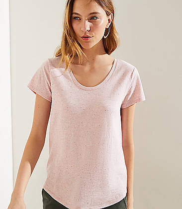 로프트 LOFT Striped Pocket Vintage Soft Tee,Sweet Pink Heather