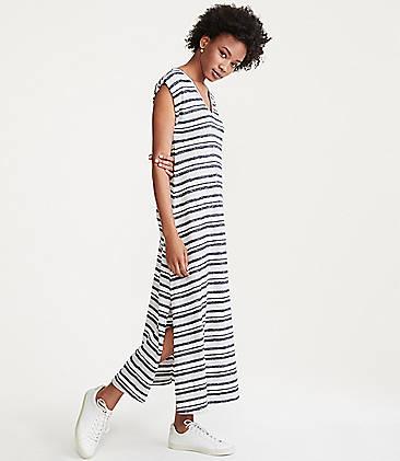 로프트 LOFT Lou & Grey Striped Maxi Tee Dress,Grey Multi