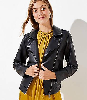 로프트 LOFT Pebbled Moto Jacket,Black