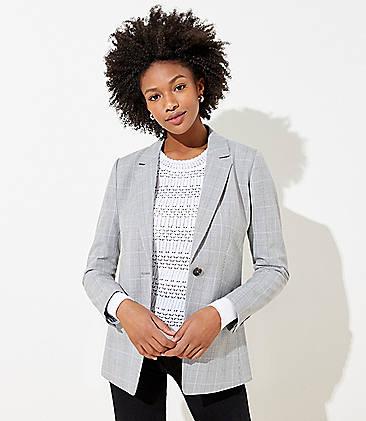 로프트 LOFT Plaid Modern Blazer,Grey Multi