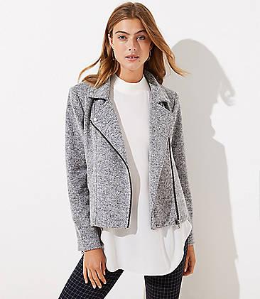 로프트 LOFT Textured Knit Moto Jacket,Black / White Combo