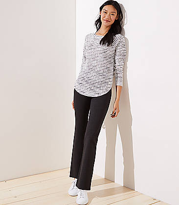 로프트 LOFT Bootcut Leggings in Seamed Ponte,Moonrock Grey Heather