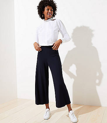 로프트 LOFT Wide Leg Pull On Pants in Ponte,Forever Navy