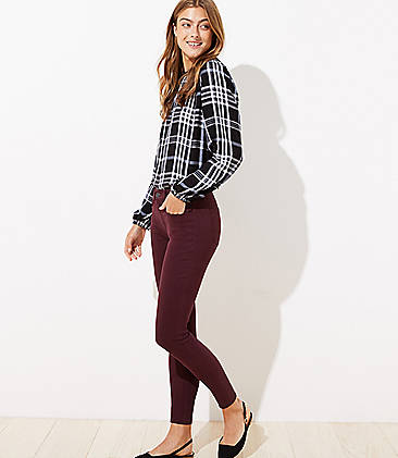로프트 LOFT 5 Pocket Sateen Leggings,Ultra Plum