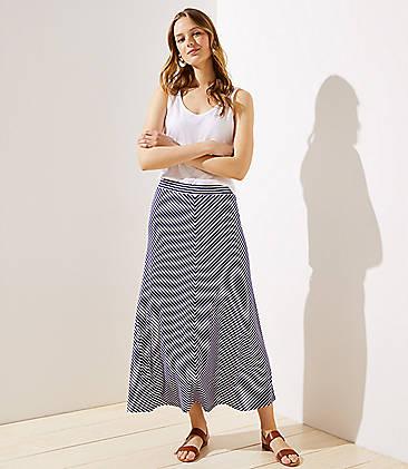 로프트 LOFT Chevron Maxi Skirt,Midnight Regatta
