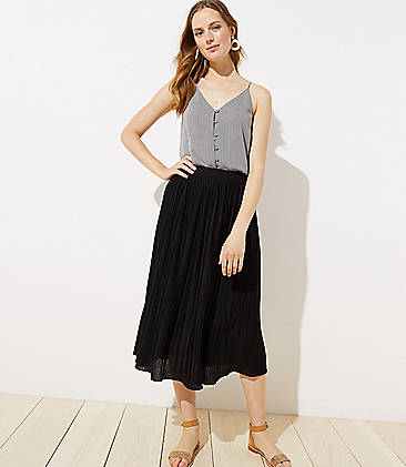 로프트 LOFT Pleated Knit Midi Skirt,Black