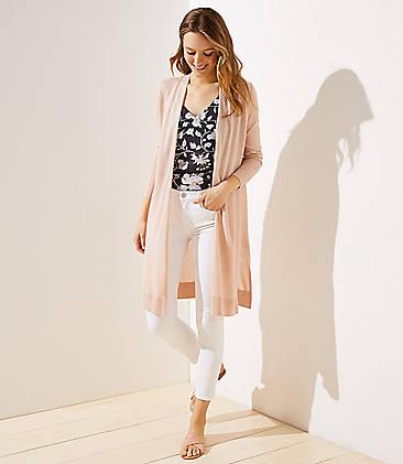 로프트 LOFT Shimmer Open Cardigan,Rose Gold