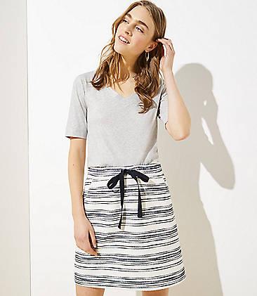 로프트 LOFT Striped Knit Jogger Skirt,Whisper White