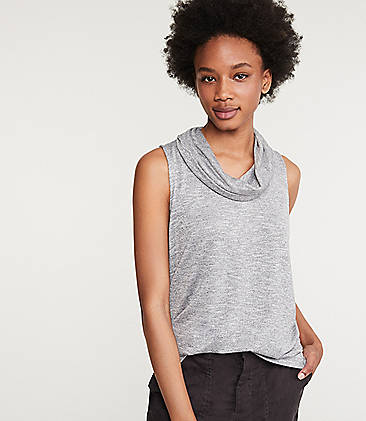 로프트 LOFT Lou & Grey Brushmarl Cowl Neck Top,Grey Marl