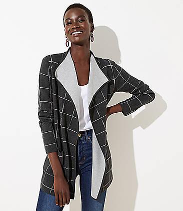 로프트 LOFT Plaid Reversible Sweater Jacket,Gravel Grey Heather