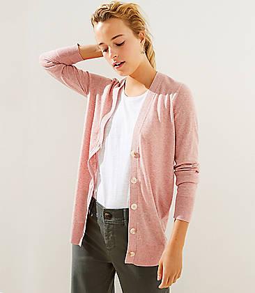 로프트 LOFT Flecked Boyfriend Cardigan,Pink Multi