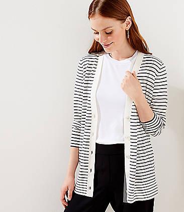 로프트 LOFT Striped Boyfriend Cardigan,Blue White Stripe
