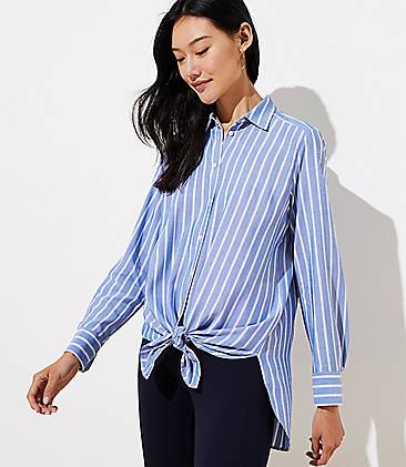 로프트 LOFT Striped Tunic Shirt,Dusty Cornflower