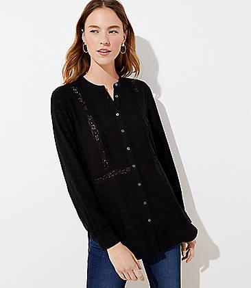 로프트 LOFT Textured Stripe Tunic Shirt,Black