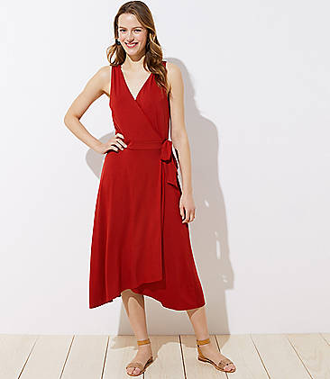 로프트 LOFT Midi Wrap Dress,Zesty Red