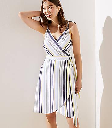 로프트 LOFT Striped Strappy Wrap Dress,Yellow Sorbet