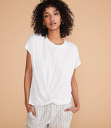 로프트 LOFT Lou & Grey Softserve Linen Twist Front Top