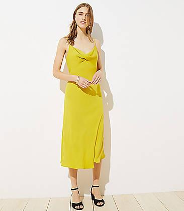 로프트 LOFT Twist Midi Slip Dress,Warm Saffron