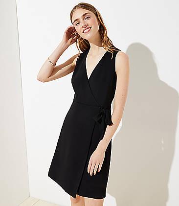 로프트 랩 원피스 LOFT Wrap Sheath Dress,Black