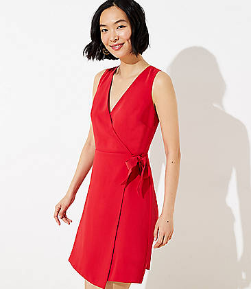 로프트 LOFT Wrap Sheath Dress,Orchard Red