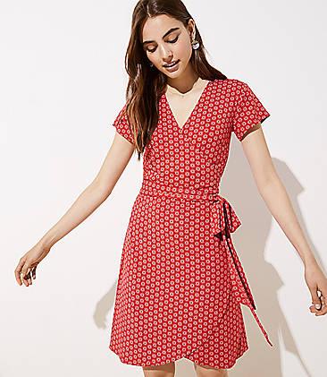 로프트 LOFT Knit Wrap Dress,Orchard Red