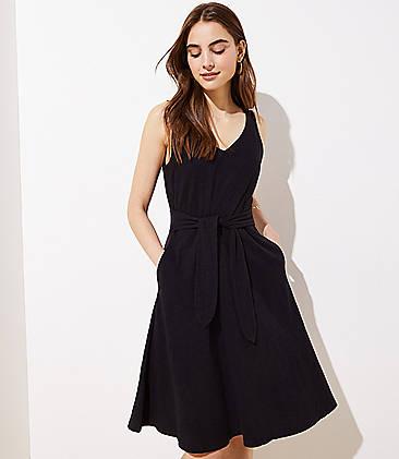 로프트 LOFT Tie Waist Midi Flare Dress,Black