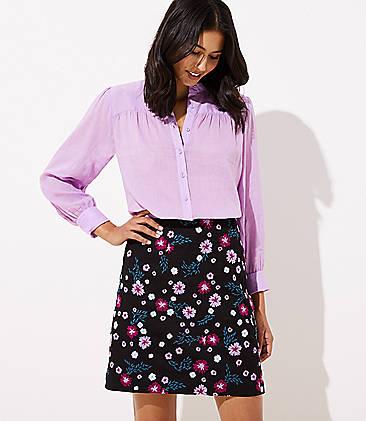 로프트 LOFT Garden Embroidered Shift Skirt,Black