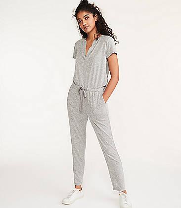 로프트 LOFT Lou & Grey Split Neck Jumpsuit,Grey Marl