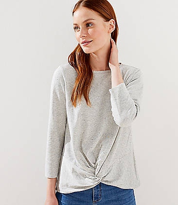 로프트 LOFT Twist Hem Sweatshirt,Grey Multi