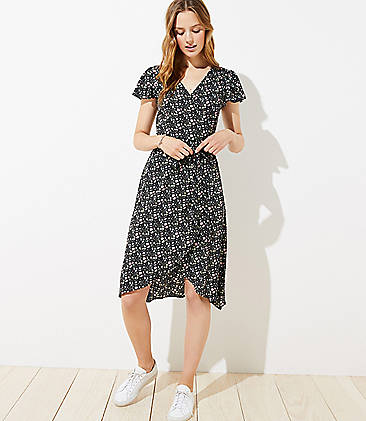 로프트 LOFT Vine Flutter Midi Wrap Dress,Black
