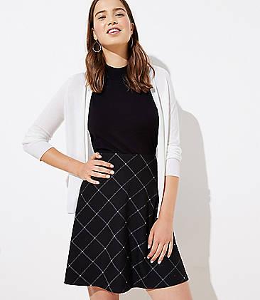 로프트 LOFT Plaid Knit Flippy Skirt,Black