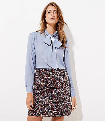로프트 LOFT Velvet Shift Skirt,Black