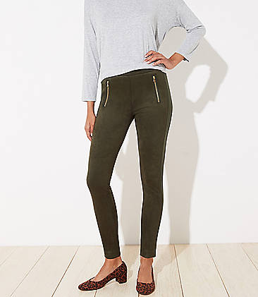 로프트 LOFT Zip Trim Faux Suede Leggings,Dark Caper